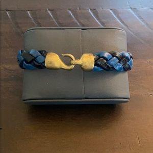 Vintage blue/black leather braided bracelet